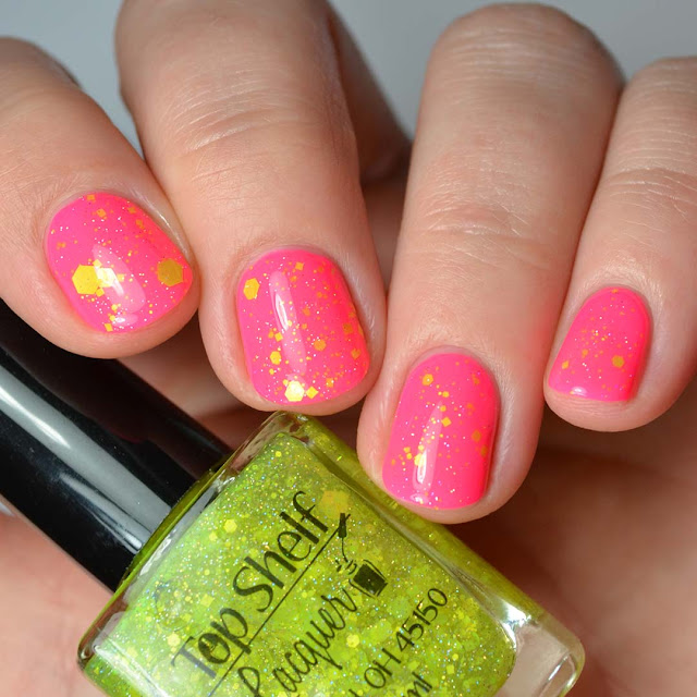 neon yellow glitter nail polish