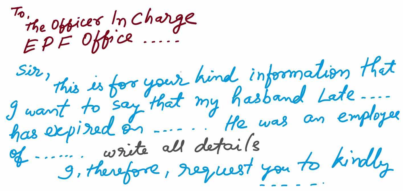 Sample Application Letter for Pension after Death of Husband