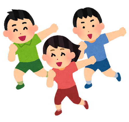 踊る子供たちのイラスト