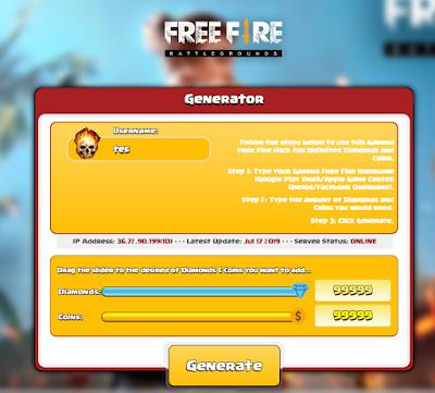 Gfftool.com Generate 99999 Diamond dan Coins Free fire gratis