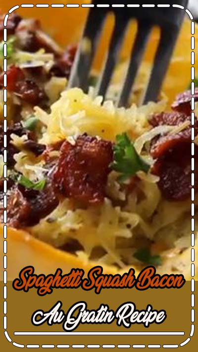 Make this yummy keto spaghetti squash au gratin recipe for dinner. Makes a great side dish. Low carb and your guests will love it! Keto diet ketogenic diet recipe.