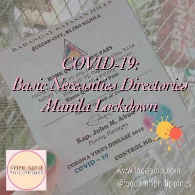 COVID-19: Basic Necessities Directories - Manila Lockdown