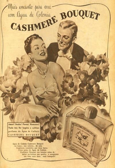 Propaganda antiga da Cashmere Bouquet promovendo sua água de colônia em 1947