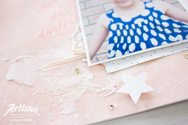 Twinkle Twinkle Designer Paper with Stitched All Around stamp set by Stampin' Up! - Scrapbook page by Susan Wong