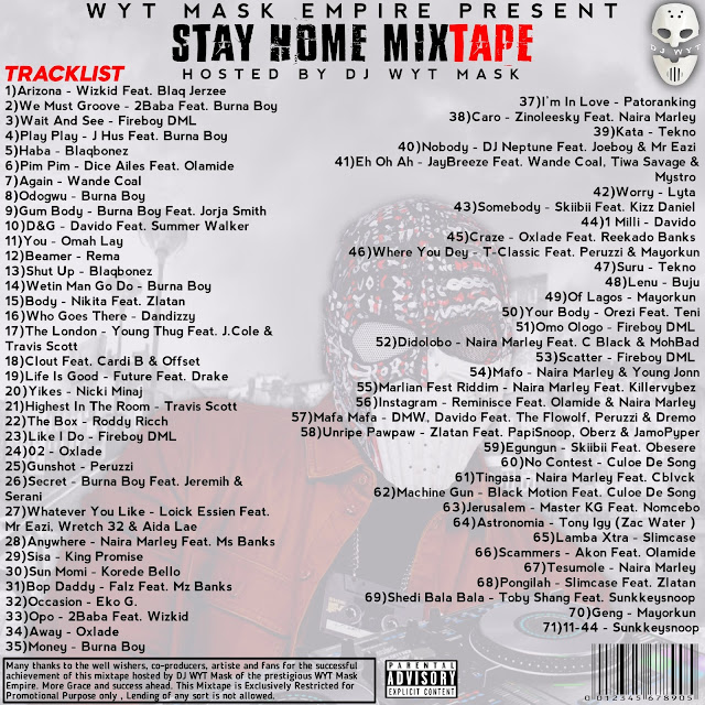 [Mixtape] Dj Wyt Mask #Stay Home Track list