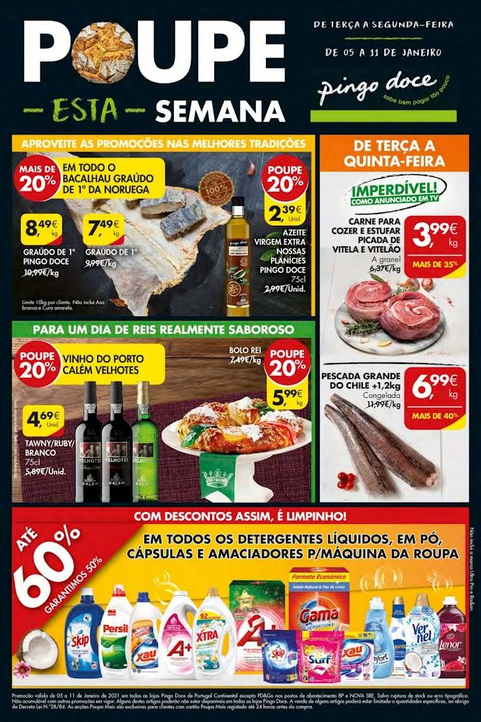 Folheto Semanal Pingo Doce - Poupe esta semana! - de 05 a 11 de Janeiro de 2021