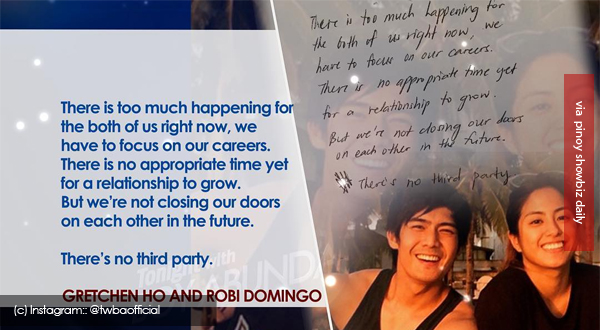 Robi Domingo and Gretchen Ho's statement on the status of their relationship