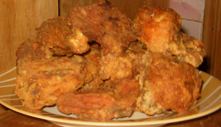 Already coated, fried chicken