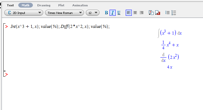 Hasil dari Int(x^3+1,x); value(%); Diff(2*x^2,x); value(%);