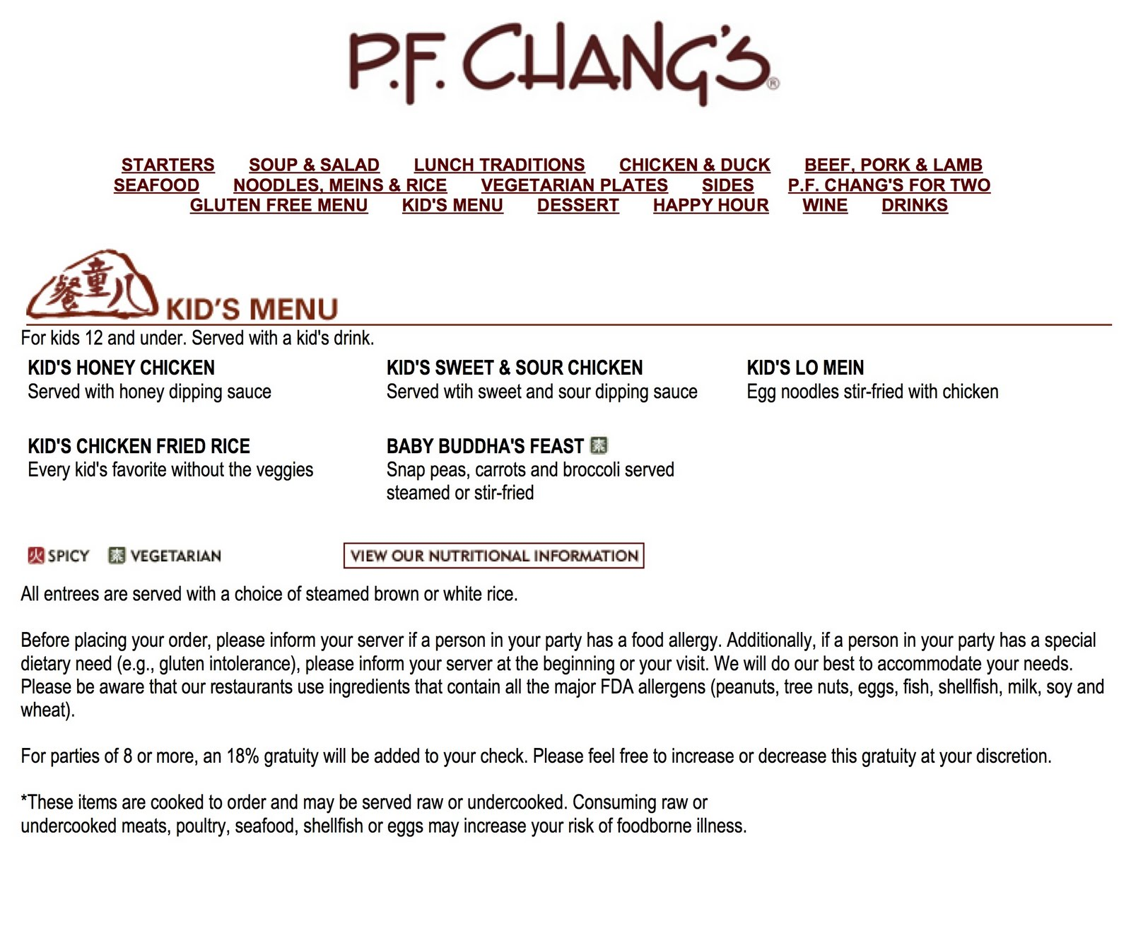 Pf Chang S Home Menu