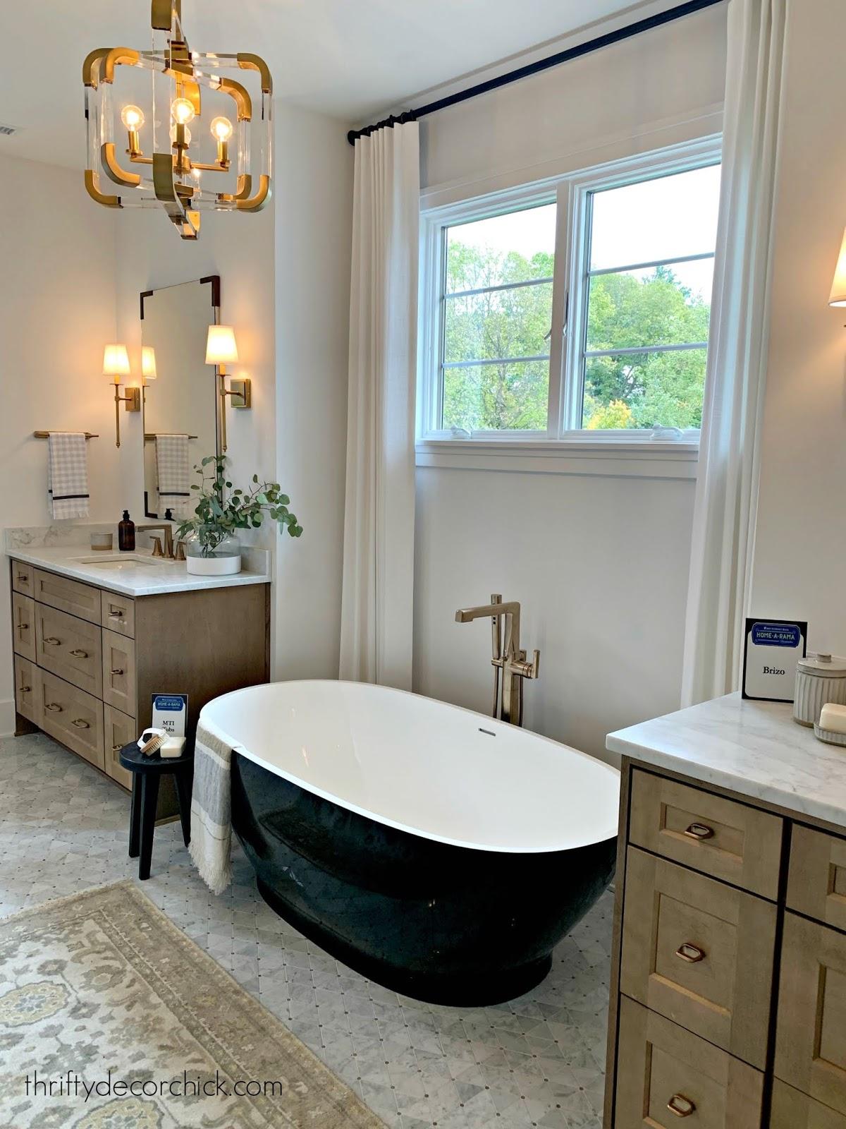symmetrical vanities bathroom black tub