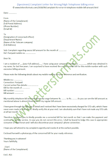 Complaint Letter for Wrong or High Telephone billing error (Sample)