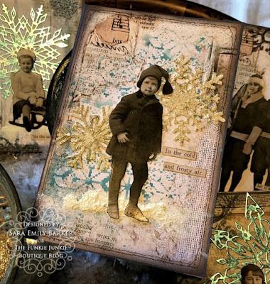 Sara Emily Barker https://sarascloset1.blogspot.com/2019/12/quick-christmas-cards-with-tim-holtz.html Mixed Media Christmas Cards #timholtz #stamperia 2