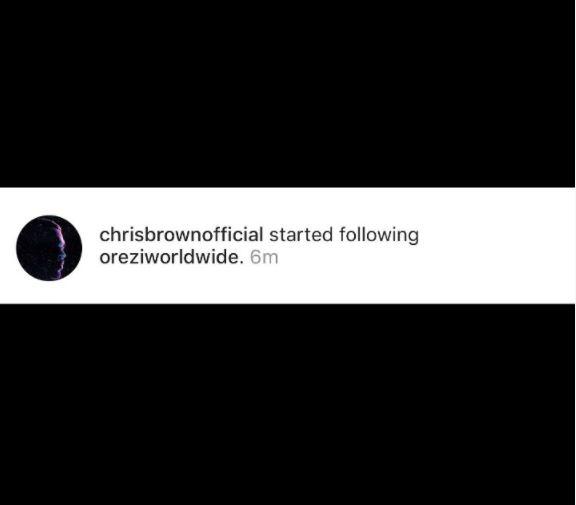 follows orezi Chris Brown Follows Orezi On Instagram following