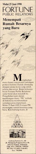 Iklan Pengumuman Fortune pindah ke gedung baru. TEMPO 7 Juli 1990