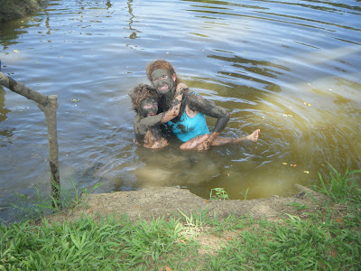 swimming in the mud pool