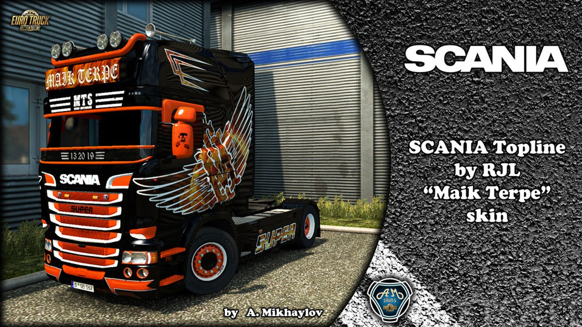 "Scania RJL ""Maik Terpe"" Skin + Lightbox + Wheels"