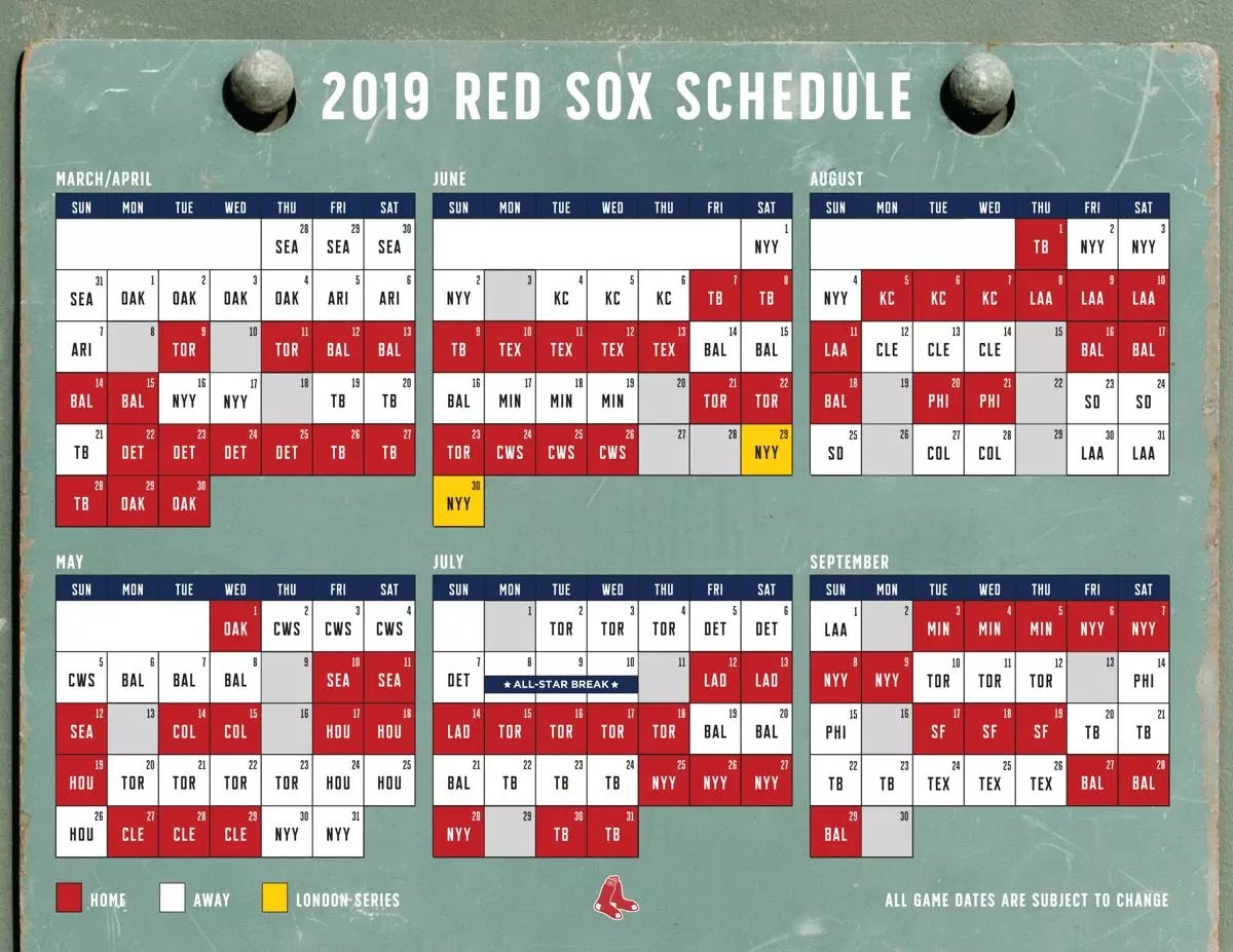 2019 Red Sox Calendar Red Sox Calendar Schedule | Examples and Forms