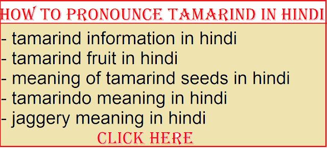 how to pronounce tamarind in hindi