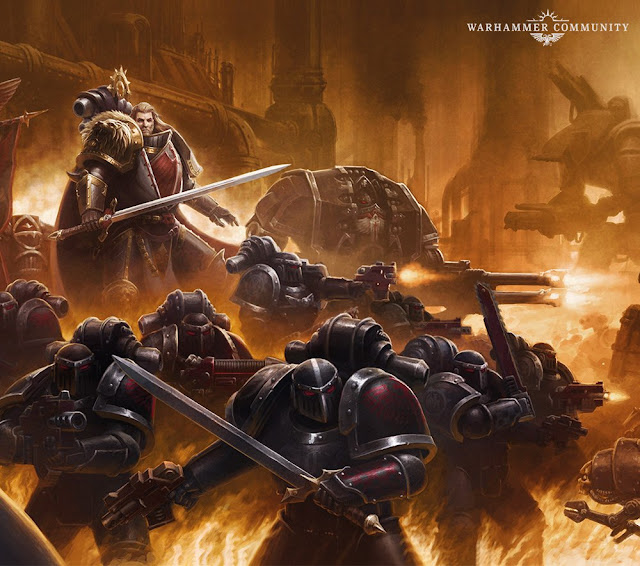 Lion El Jonson y sus legionarios Ángeles Oscuros