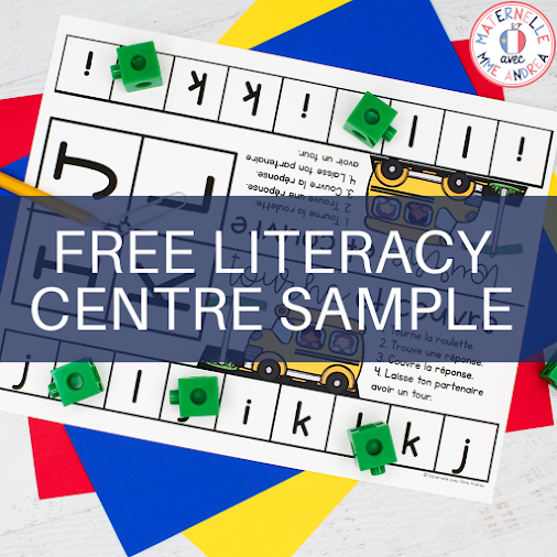 Check out this FREE literacy centre sample from Maternelle avec Mme Andrea. Tourne et couvre is a game that French primary students LOVE for practicing a range of skills. This freebie will help your students practice letters a-d with a partner.