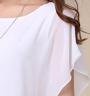 Blusa de gasa cuello redondo, manga corta ancha y cintura ajustada