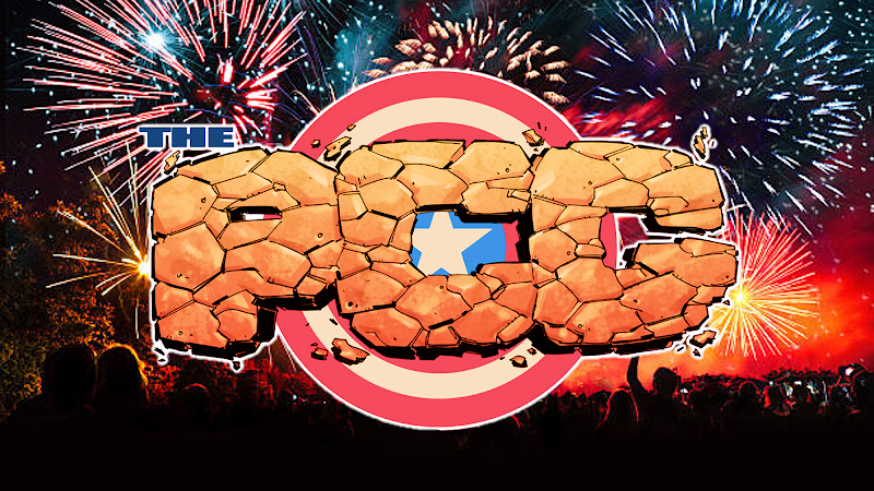 The PCG logo in front of a scene showing a fireworks party