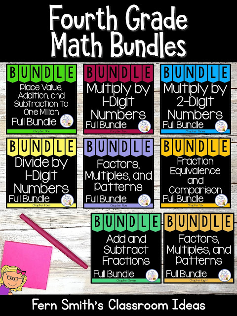 You can click on the link below to arrive at my TpT store already sorted for the grade level items you want for your class. Fourth Grade Go Math Bundles for Your Fourth Grade and Fifth Grade Students. #FernSmithsClassroomIdeas
