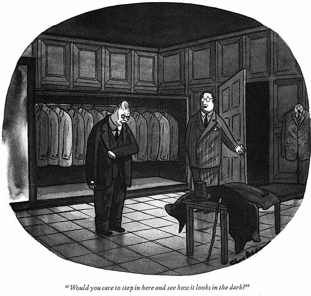 a Charles Addams cartoon about a clothing store
