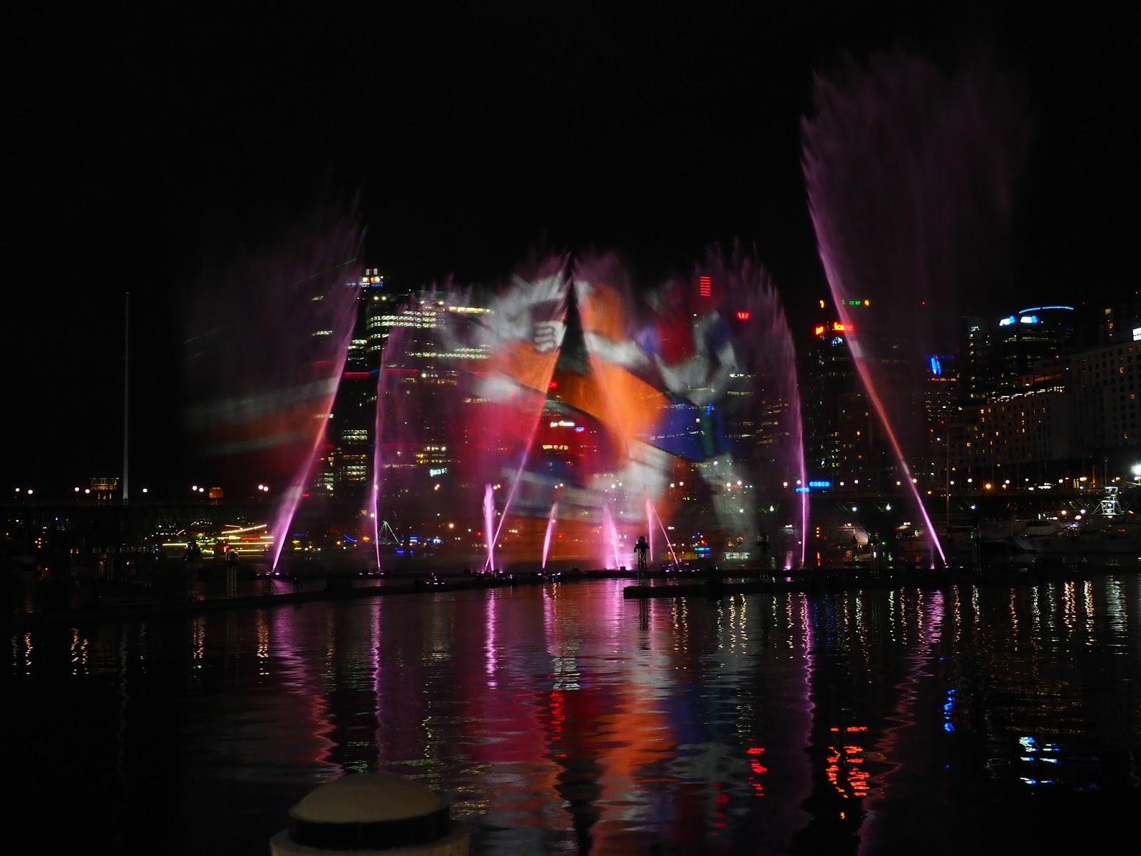 Vivid Sydney Darling Harbour Fountains