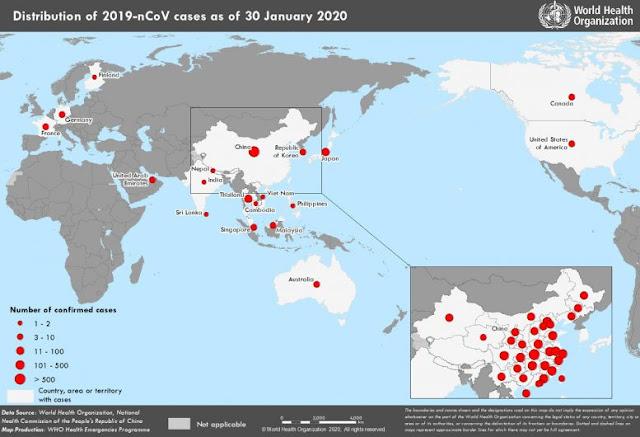 Penyebaran Virus Corona Hingga 30 Januari 2020