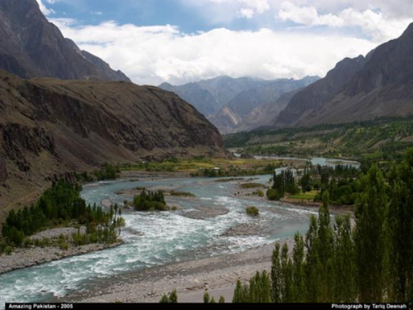 A Beautiful View of Swat River in Summer, Swat Pakistan