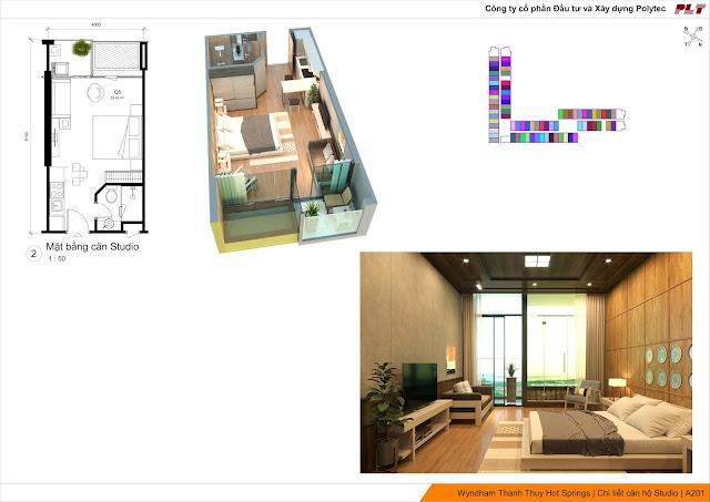 Mặt bằng thiết kế căn hộ Wyndham Lynn Times Thanh Thủy Hotels & Resorts Phú Thọ