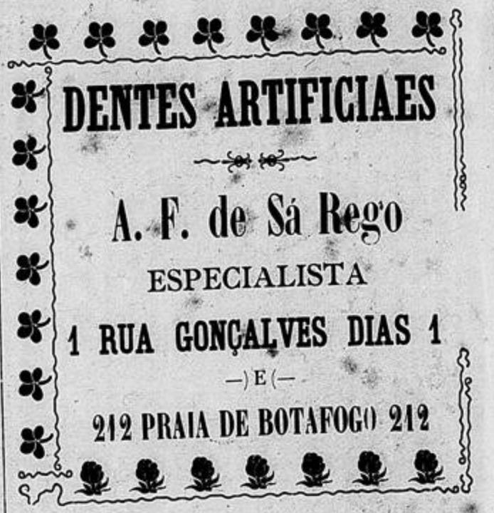 Propaganda antiga promovia a venda de dentes artificiais no ano de 1901
