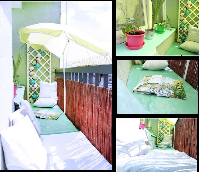 balkon leżanka i parasole