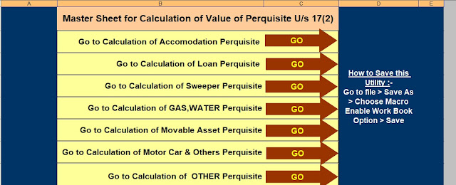 Income Tax Value of Perquisite Calculator U/s 17(2)