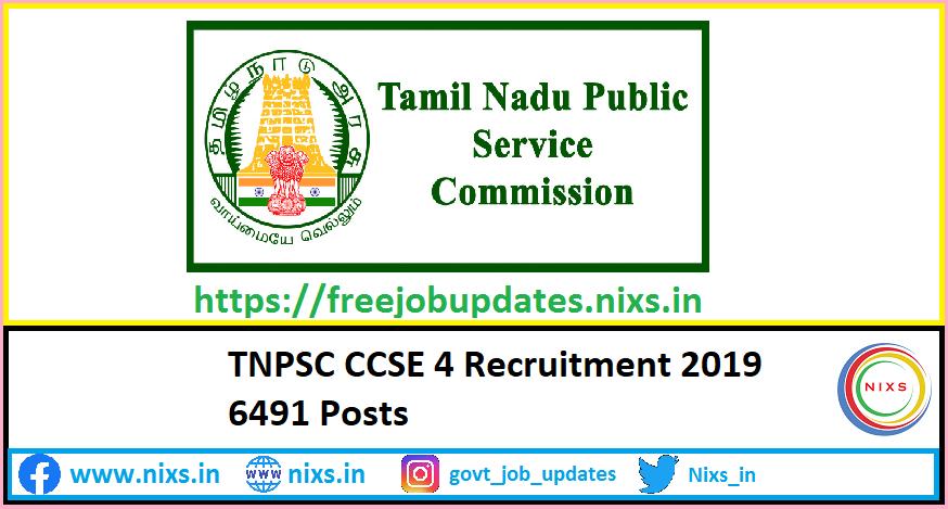 TNPSC CCSE 4 Recruitment 2019 6491 Posts – Apply online