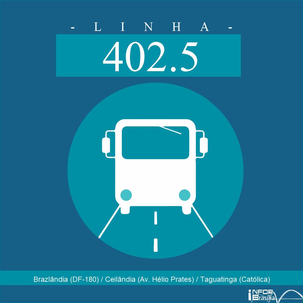 Horário de ônibus e itinerário 402.5 - Brazlândia (DF-180) / Ceilândia (Av. Hélio Prates) / Taguatinga (Católica)