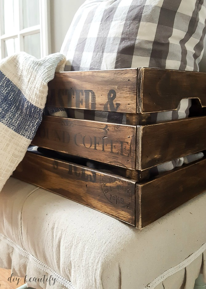 antiqued crate