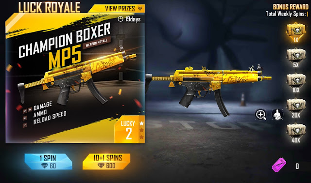 Weapon Royale Terbaru Mp5 Champion Boxer Free Fire