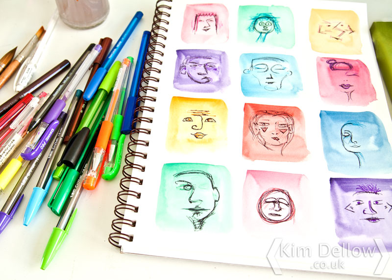 Close up of the doodled faces