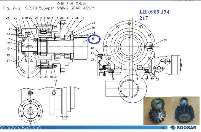 Trục bánh răng giảm tốc quay toa cẩu soosan 10 tấn A87260