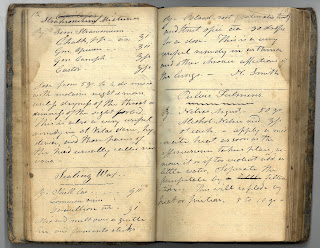 Page opening from Thomas Chadbourne's medical recipe book