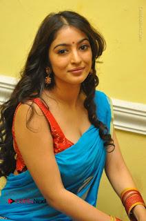 Telugu Actress Vaibhavi Stills in Blue Saree at Www.Meena Bazaar Movie Opening  0058.JPG