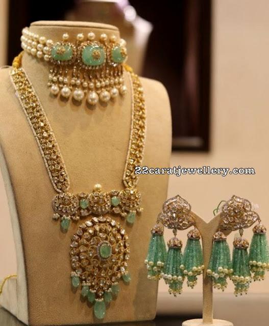 Uncut Diamond Long Set Beads Earrings