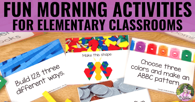 """Image of morning activities for students with text """"Fun Morning Activities For  Elementary Classrooms"""""""