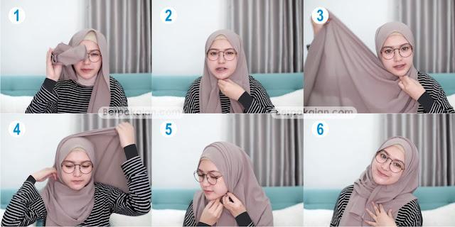 Style Keempat Tutorial Hijab Pashmina untuk Wanita Berkacamata Simple TERBARU 2019