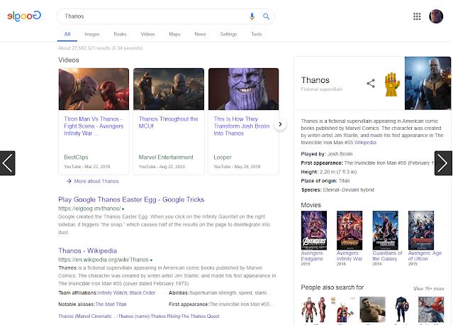 تأثير كلمة elgoog thanos في محرك البحث جوجل