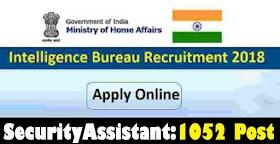 IB Security Assistant Recruitment 2018: 1052 Vacancies