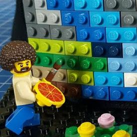 Bob Ross the artist in LEGO